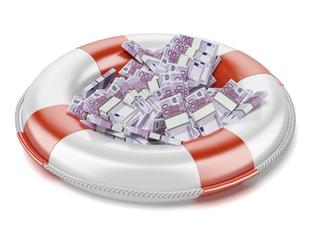 life preserver: euro  in lifebuoy  isolated on a white background