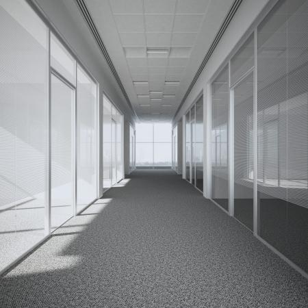 オフィスの廊下の 3 d のレンダリング