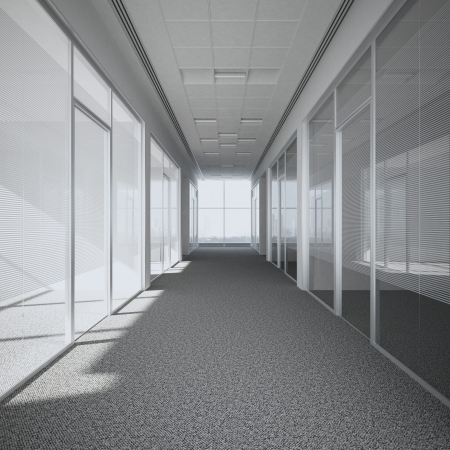 hallway: office corridor  3d render Stock Photo