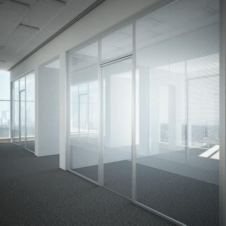 vidrio: oficina pasillo puerta de cristal 3d