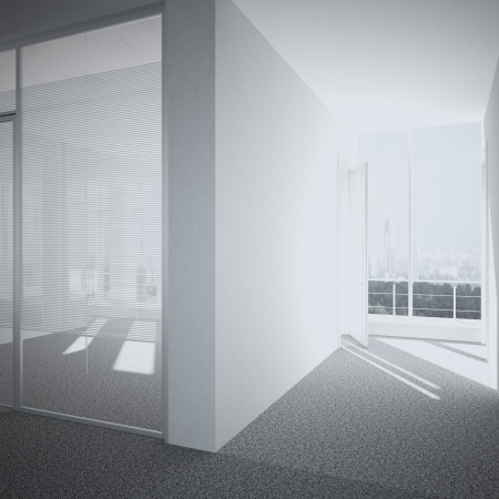 light big hall with glass windows  3d render photo