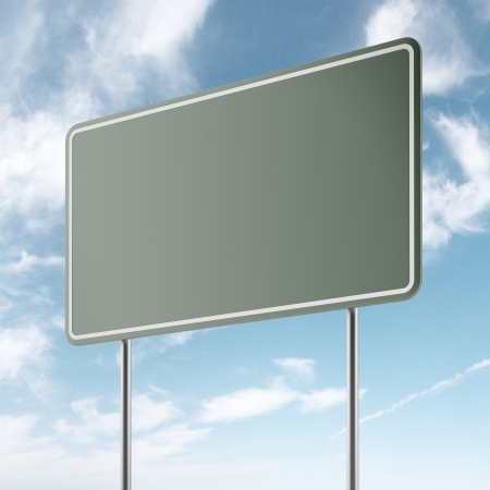 green freeway sign and sky isolated photo