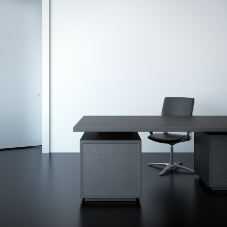 An office desk in the interior photo