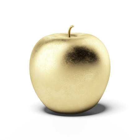 golden apple: Gold apple isolated on a white background