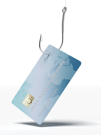 credit card on fishing hook isolated on a white background photo