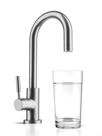 白い背景で隔離の蛇口から水を飲むで満たされたガラス