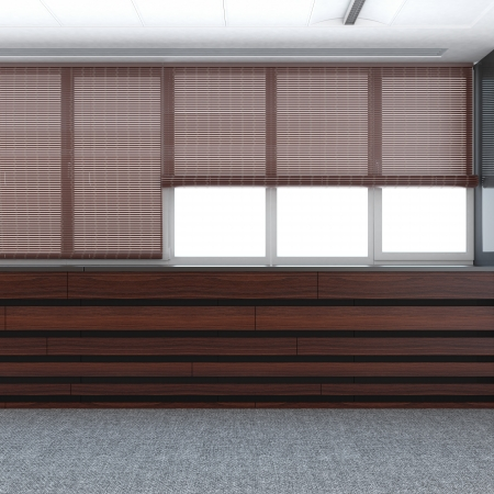 bamboo house: blinds rolls on the windows 3d render