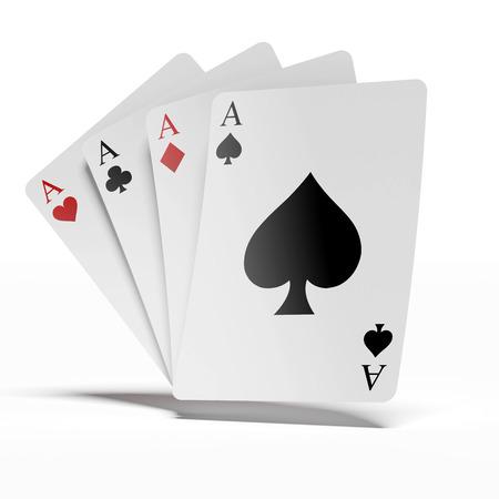 jeu de carte: quatre aces isolés sur un fond blanc