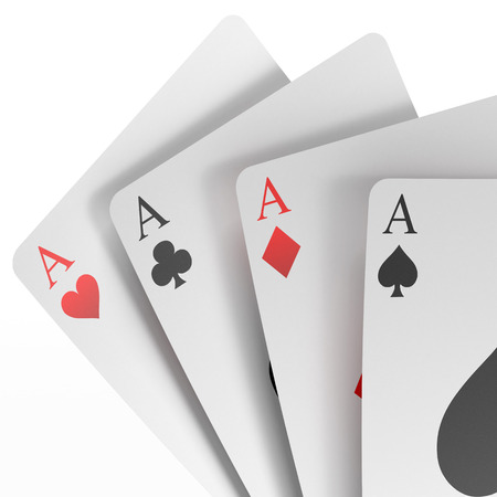 3d render of four aces  isolated on a white background Stock Photo - 22403534