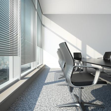 Intérieur avec stores et table de bureau 3D, render Banque d'images - 22403539