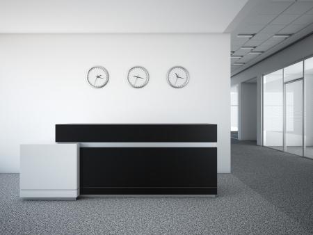 3d 렌더링 리셉션 데스크와 사무실 로비 스톡 콘텐츠