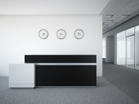 office lobby with a reception desk 3d render photo