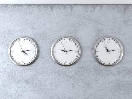 time zones: diferent time zones 3d render Stock Photo
