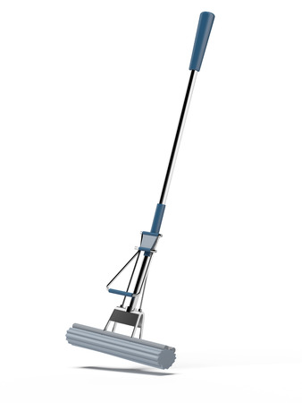 blue mop isolated on a white background photo