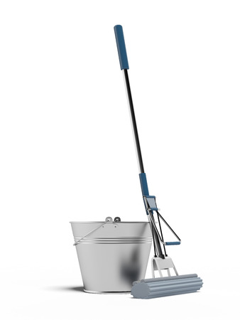houseclean: cleaning mop and bucket isolated on a white background