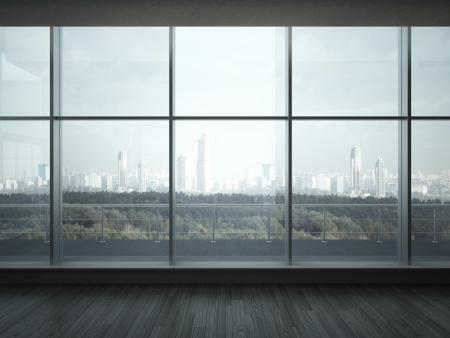 intérieur de bureau avec de grandes fenêtres rendu 3d
