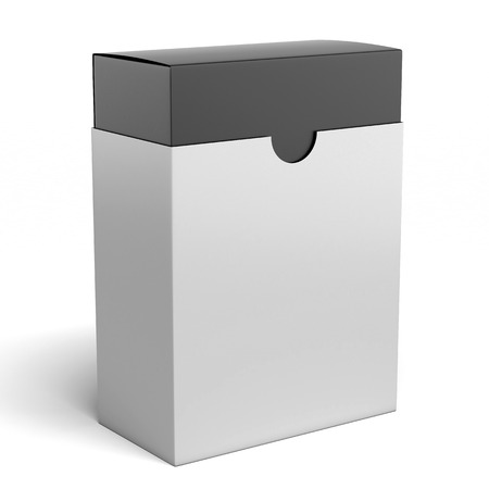 white box with black inside  isolated on a white background photo
