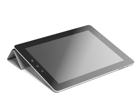 input devices: Tablet computer in gray cover isolated on a white background
