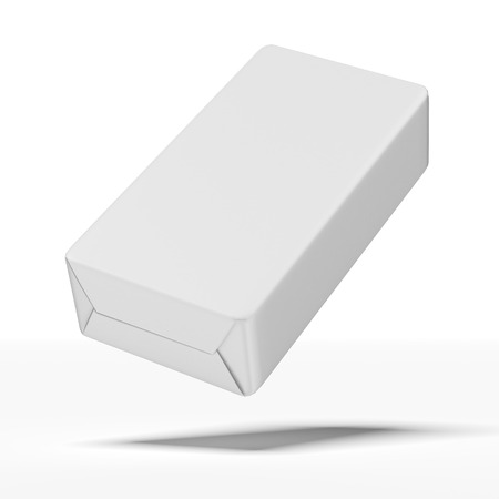 food package: White wrap box package  isolated on a white background