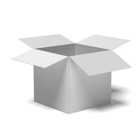 white cardboard box  isolated on a white background photo