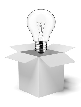 constraints: cardboard box with lit light bulb  isolated on a white background Stock Photo