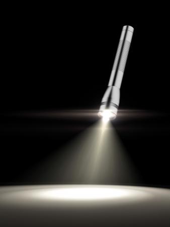 searchlight: glowing torch light   isolated on a black background