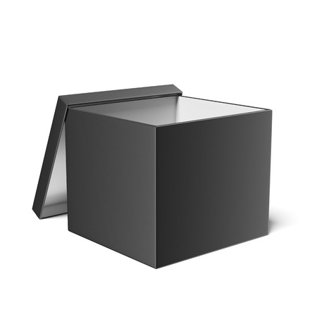 Black opened box  isolated on a white background photo