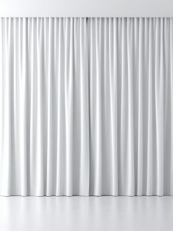 白いカーテン、白い背景で隔離 写真素材