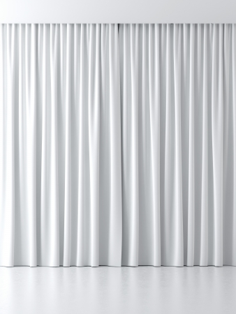 white curtains isolated on a white background