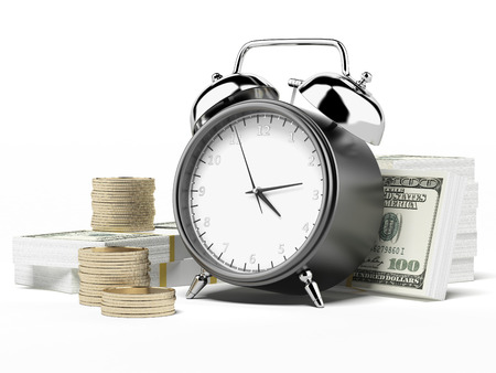 Alarm clock and money  isolated on a white background photo