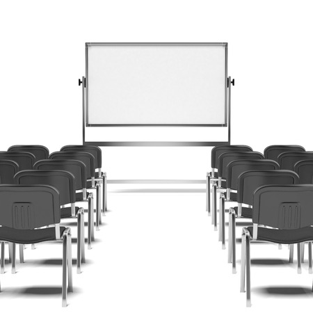 Black chairs and board isolated on a white background photo