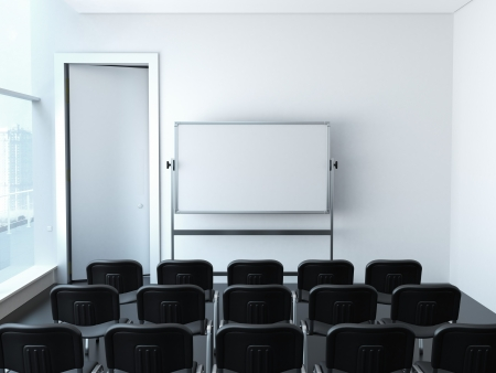 lecture room: empty meeting room with chairs Stock Photo