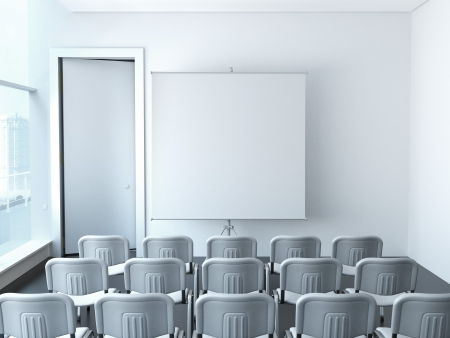 white classroom with chairs and screen photo