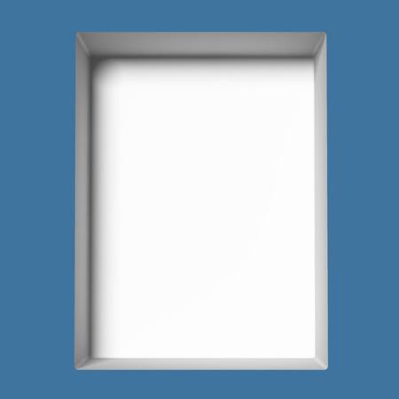vitrine: single blue empty showcase. 3d render