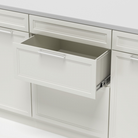 open spaces: opened empty white drawer isolated on a white background Stock Photo