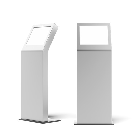 display advertising: two metal advertising stands isolated on a white background