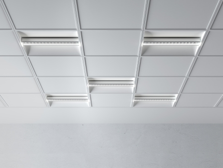 fluorescent lamp on the ceiling  isolated on a white background photo