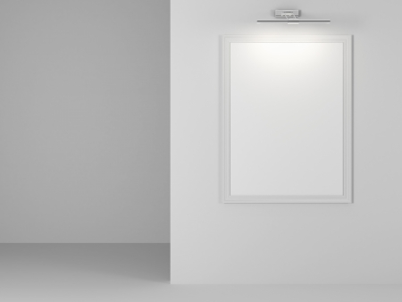 Interior with empty frame isolated on a white background Stock Photo - 22403657