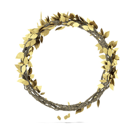 Golden Laurel wreath   isolated on a white background photo