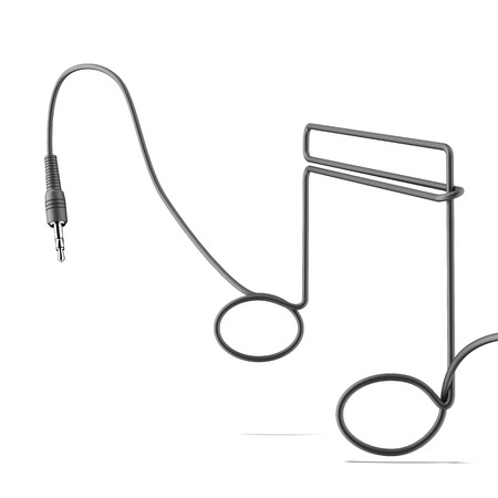 sonata: earphone cable in the form of notes isolated on a white background