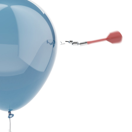 failed strategy: Strong balloon with broken dart isolated on a white background