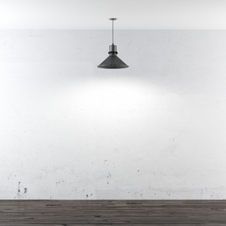 white room with ceiling lamp. 3d render photo