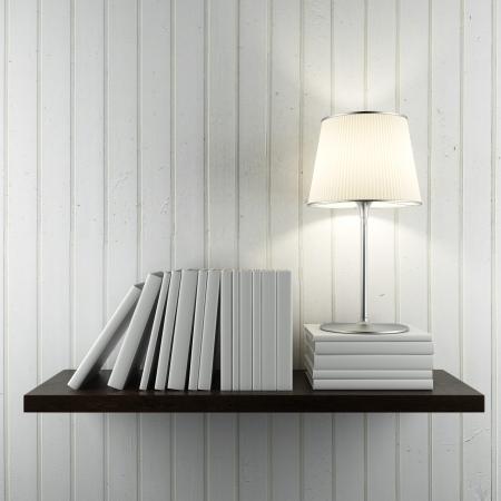 흰 벽에 책과 램프와 선반