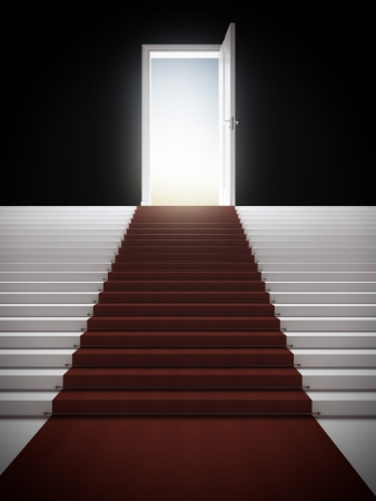 red door: Stair with illuminated door isolated on a black background Stock Photo