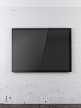 plazma: TV in the white room isolated on a white background