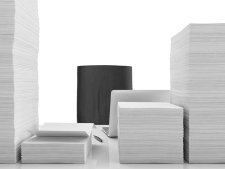 disarray: Office table with documents isolated on a white background Stock Photo