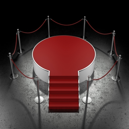 red carpet event: Red podium in dark gallery isolated on black Stock Photo