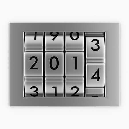 Creative New Year 2014 concept. Combination lock photo