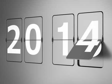 Flip clock with 2014 signs. New year concept. 3d render photo