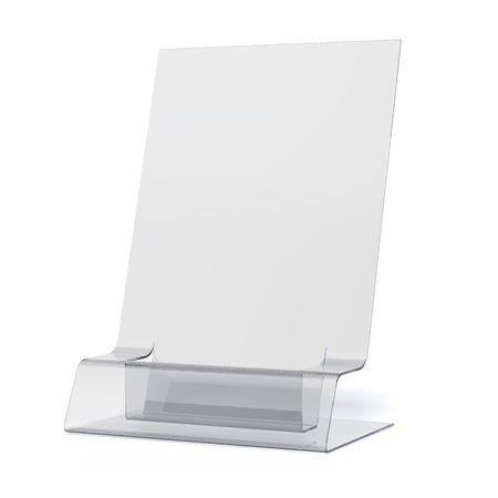 empty transparent holder for leaflets isolated on a white background photo